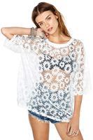 Daisy print sight through chiffon Bat sleeve young sexy girl three quater sleeve 2014 new summer women haoduoyi Blouses & Shirts