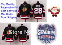2014 Stadium Series Chicago Blackhawks Ice Hockey Jerseys #28 Ben Smith Black Red Jersey Free shipping New Arrival !!!