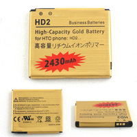 high quality Built-in dual protection circuit High Capacity Gold Battery For HTC HD2 T8585 T8588 HD9 LEO 2430mAh,free shipping