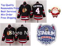 2014 Stadium Series Chicago Blackhawks Ice Hockey Jerseys #4 Niklas Hjalmarsson Black Red Jersey Free shipping New Arrival !!!