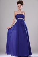 Blue Strapless Floor Length Chiffon Princess Evening Dress With Draped