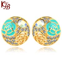 2014 New Fashion 14K Gold Plated Flower Crystal Stud Earrings Flower Rhinestone Earrings for Women  Girls Accessories Blue