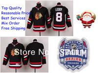 2014 Stadium Series Chicago Blackhawks Ice Hockey Jerseys #8 Nick Leddy Black Red Jersey Free shipping New Arrival !!!