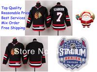 2014 Stadium Series Chicago Blackhawks Ice Hockey Jerseys #7 Brent Seabrook Black Red Jersey Free shipping New Arrival !!!