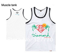 2014 Free Shipping 100% cotton Vest pink dolphin Short Hip Hop Vest Sportswear Vest Diamond