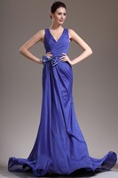 Blue V Neck Court Train Chiffon Trumpet Mermaid Evening Dress
