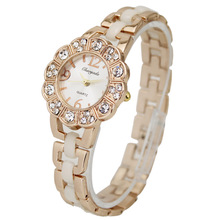 1PCS Golden Beautiful Fashion Diamond Face Women's Ladies Girls Jewelry Dress Quartz Wrist Watches Clocks,  Free & Drop Shipping