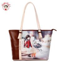 Betty betty boop fashion women's bag hot-selling women leather handbags coffee vintage fashion female shoulder bag