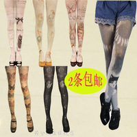 Printed cat rabbit stocking tights for women patterned tights tattoo pantyhose harajuku sexy lace stockings stockings a lot sell
