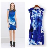 2014 summer new women flouncing sleeveless Slim Orchid Print Dress (CCA17)