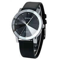 wholesale Male Classical Black Men Leather Crystal Silver Case Quartz Wristwatch Casual Dress Watches Cock Hours Free Shipping