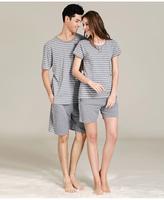FREE SHIPPING,fashionable casual modal lounge set stripe short-sleeve lovers sleepwear 2357