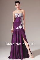 Latest Design Straight Chiffon Applique Flowers Beading Purple And White Side Slit Sexy Sweetheart Long Evening Dresses