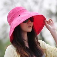 Sun-shading hat women's summer sun hat large-brimmed hat cotton flat 100% cotton