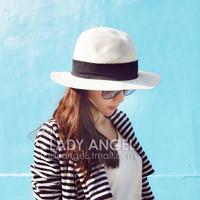 Hat female summer white strawhat summer sun strawhat fedoras sunbonnet beach sun hat