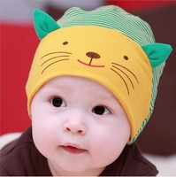 spring 2014 baby hats & caps 100% cotton baby pussy cotton baby hat 0 - 2 autumn and winter baby hats