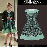 Women's slim print embroidery one-piece dress