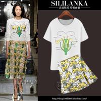 2014 fashion star fashion print short-sleeve print short skirt casual set