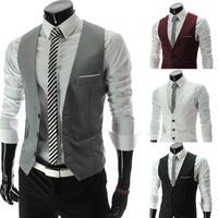 spring 2014 fashion men slim V-neck vest chain decoration suit vest men clothing