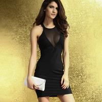 2014 New Fashion Summer Women Sexy Around We Go Black Cutout Halter Backless Dress White Black HF2943 Free Shipping