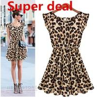 New 2014 Women Dresses Elegant Classical Vintage Sleeveless Pinup Sexy Leopard Loose Casual Summer Mini Print Dress 5 sizes WF09