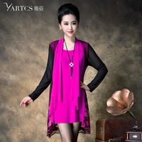 Pure 2014 spring plus size clothing mm elegant embroidery plus size faux two piece one-piece dress