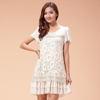 Pure plus size one-piece dress plus size clothing summer mm 2014 chiffon one-piece dress