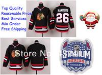 2014 Stadium Series Chicago Blackhawks Ice Hockey Jerseys #26 Michal Handzus Black Red Jersey Free shipping New Arrival !!!