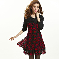 Free shipping new 2014 Spring plus size one-piece dress mm slim thin lace ruffle plus size one-piece dress jh833