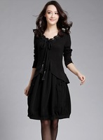 2013 plus size mm skirt spring clothing loose slim elegant plus size one-piece dress Free shipping New 2014