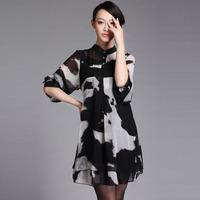 New 2014 spring plus size chiffon mm slim elegant plus size plus size chiffon one-piece dress