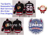 2014 Stadium Series Chicago Blackhawks Ice Hockey Jerseys #50 Corey Crawford Black Red Jersey Free shipping New Arrival !!!