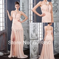 2015 Free Shipping Hot Sale Strapless  A-line Chiffon Beaded Floor-length Long Beautiful Chiffon Pink Prom Dresses