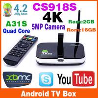 New 2014 Wholesale 2GB Ram 16GB Rom Quad Core CS918S  Allwinner A31S Bluetooth Full HD Multi Media Player Android TV Box 5.0MP