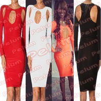 4-colors Backless Vintage Dress Spring 2014 Women Bodycon Celebrirty Cut Out Open Back Mesh Bandage Lady Vestidos Body Party