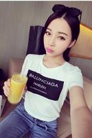 Cheap 2014 women girl new fashion summer round neck letter BALLINCIAGE print T-shirt t-shirts tops tee black white 911