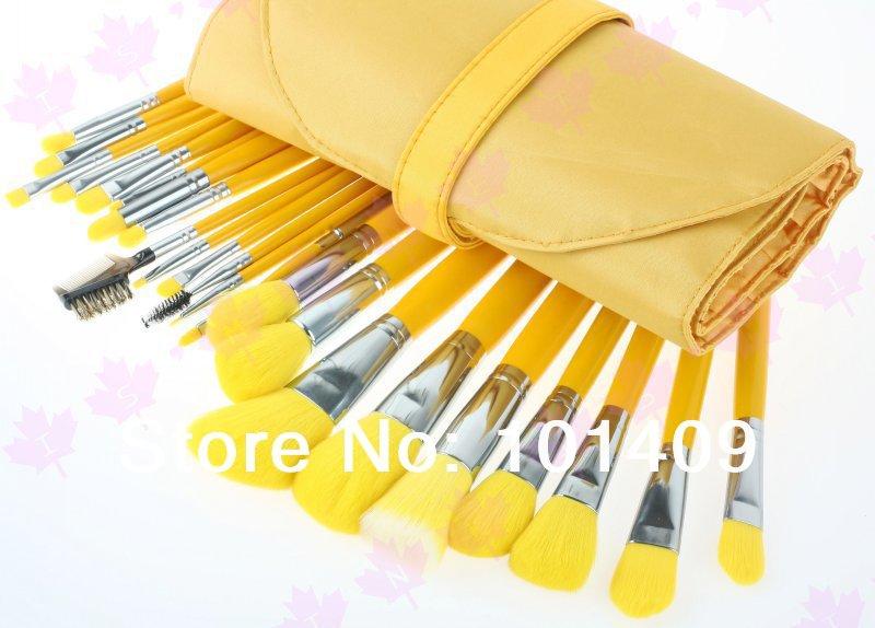 Pro 23 pcs High Quality Nylon Hair Makeup Cosmetic Brush Set With Yellow Case(China (Mainland))