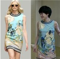 Summer Dress 2014 New Fashion Women Europe Style Submarine world Cartoon Print Dresses Blue and white Free shipping Nora40026