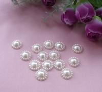 50PCS Wholesale Sunflower Shape Pearl Bead Flat Scrapbook Craft 20mm Resin Flat Back Beads Jewelry Accessories Free Shipping