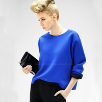 2014 New Spring Fashion tshirt Long Sleeve Solid women t-shirt O-neck Runway Stage t-shirts tops for women White Blue