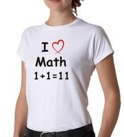 Custom Shirts I Love Math White t shirts Women O-Neck Shirt  Boy Girl Printed  Diy T-Shirt Free Shipping