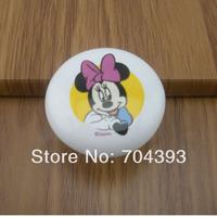 2pcs Lovely Kids Furniture Bedroom Cartoon Mouse Ceramic Kitchen Cabinet Knobs Drawer Pulls