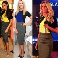 New Arrival Fashion 2014 Elegant Celeb O-neck Short Sleeve Patchwork Shift Bodycon Party Cocktail Women Career Midi Dress