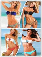 Sexy Women Strapless Bling Diamond Bikini Set Swimsuit 1000set Free Shipping