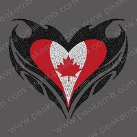 Love Canada Flag Rhinestone Motif Iron On Wholesale 50Pcs/Lot Free Dhl Shipping DMC Loose Rhinestones