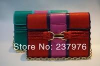 New 2014 free shipping women hit colors shoulder bag metal chain genuine leather handbags sheepskin shoulder bags high quality