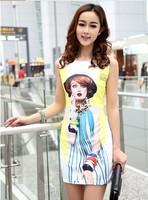 New 2014 Sring Summer Dresses Women Europe Fashionable 3D Girl Print Dress Sleeveless Mini XS-XL Free Shipping Nora20027