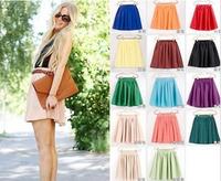 Womens Skirts 2014 Spring and Summer Women Double Pleated Chiffon Skirt Tutu High Waist Big Swing Skirt Women 5pcs/lot 12 Colors