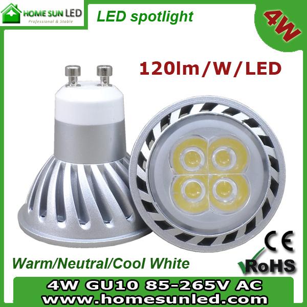 high power 4W GU10 dimmable LED spotlight bulb 85-265V AC(China (Mainland))