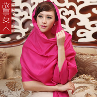 2014 Spring Wool scarf female autumn and winter scarf all-match cape dual solid color